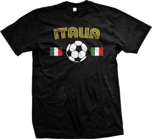 {UltraD} Italia Flag Soccer Ball International T-shirt, Italia Soccer Mens T-shirt (BLACK, 3XL) at Amazon.com