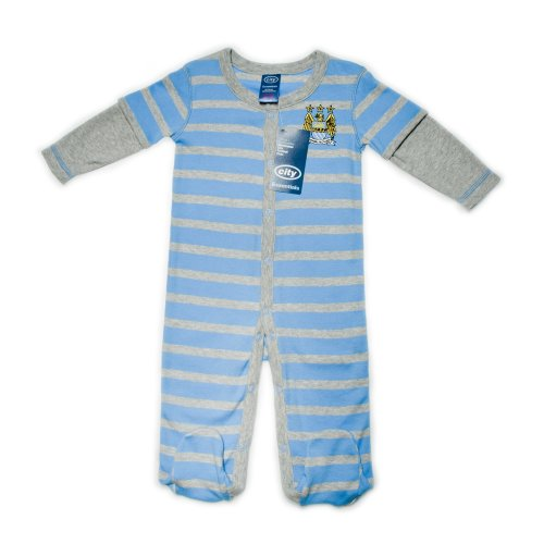 Manchester City Football Club Baby Boys Striped Sleepsuit with Feet. Striped with Popper Fastening Centre Front (Blue/White/Grey, 3 to 6 Months)