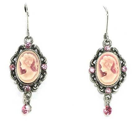 Beautiful Fancy Cameo Lady Charm Earrings with Pink Crystal Accents Black/Hematite Finish Comes Gift Boxed