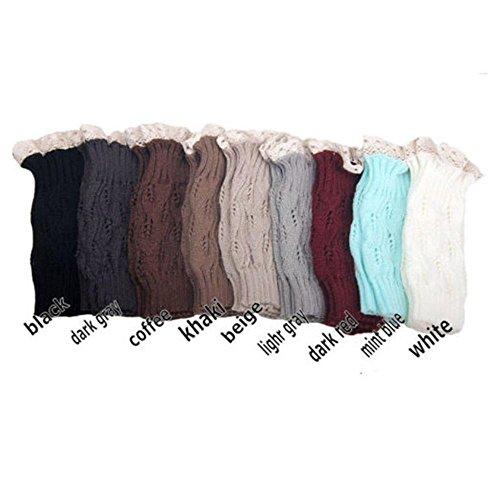 Lady Girls Warm Crochet Knitted Lace Trim Topper Cuffs Leg Warmers Boot Socks Color:Dark Grey