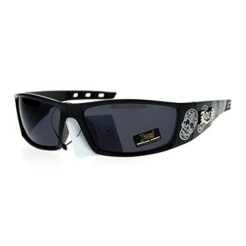 Locs Skull Print Gangster Mens Warp Sport Biker Sunglasses Shiny Black (Locs Skull compare prices)
