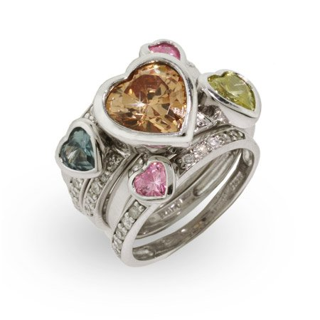 Five Band Sparkling Pastel Hearts Stackable Ring Set Size 6 (Sizes 5 6 7 8 9 Available)