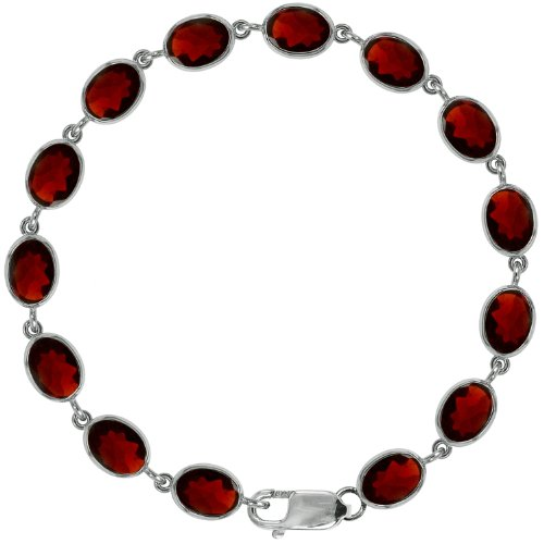 Stunning Ladies Solid Sterling Silver Gemstone Bracelet 7.5 inches long set with natural Garnet