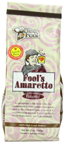 The Coffee Fool French Press Coffee, Fool'S Amaretto, 12 Ounce
