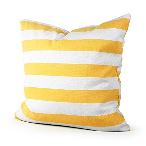 Advogue Kissenbezüge 45x45cm Weißer Streifen Kissenhülle Sofakissen Kissenbezug mit Reißverschluss (Gelb)