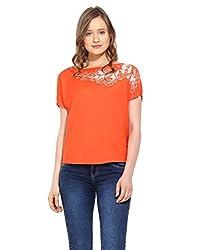 Saiesta Women's Orange Cutwork Embroidered Kimono Top