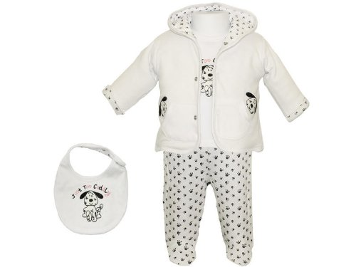 Just Too Cute Hooded Jacket, Leggings, Long Sleeved Top & Bib Outfit - 0-3 Months