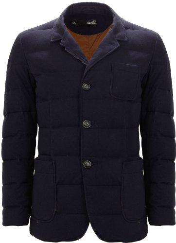 Moschino Men's Quilted Blazer Style Down Jacket Navy Blue (XX-Large)