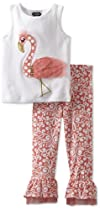 Mud Pie Girls 2-6X Flamingo Top and Pant Set, Pink, 5T
