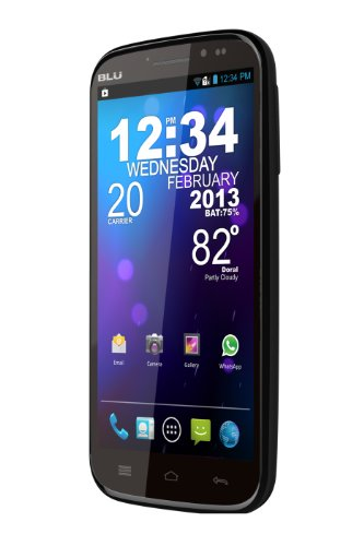 BLU Studio 5.3 II Unlocked Dual Sim Phone with Dual-Core 1GHz Processor, Android 4.1, 5.3-inch IPS Capacitive Touch, and 8MP Camera - U.S. Warranty (Black)