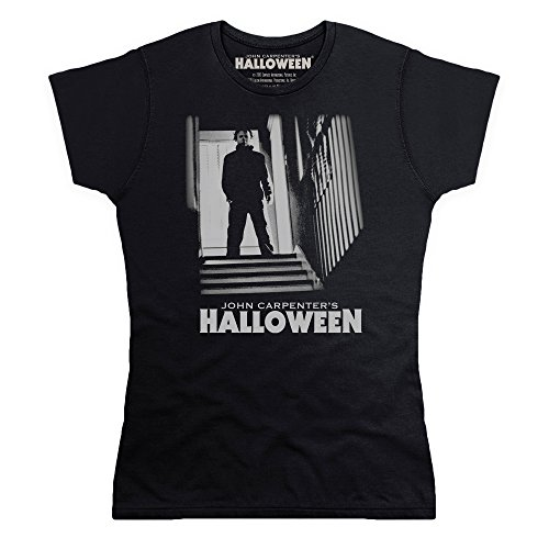official-halloween-t-shirt-michael-myers-stairs-pour-femme-noir-2xl