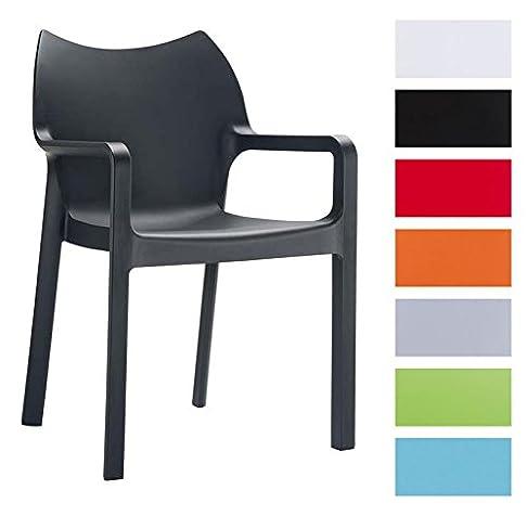 CLP Set di 2 sedie design da giardino DIVA con braccioli, impilabili, idrorepellenti, Resistente ai raggi UV, fino a 8 colori a scelta nero