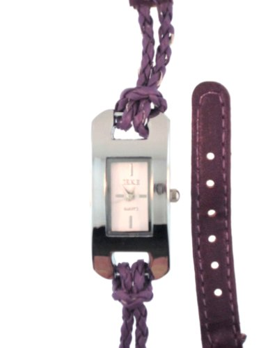 Holiday Gift Purple Woven Leather Wrap Watch