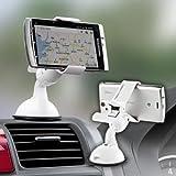 サンワダイレクト 車載ホルダー iPhone 各種 スマートフォン Xperia IS03 galaxys REGZAphone など対応 ホワイト 200-CAR008W