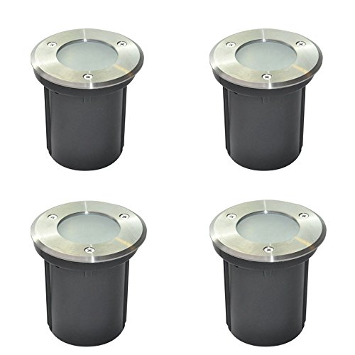 Lot of 4 Silbo SB8097 Low Voltage 12V 3W LED In-ground Outdoor or Indoor Waterproof Stainless Steel Flood Lighting