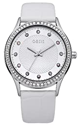 Oasis Women's Quartz Watch with Silver Dial Analogue Display and White Leather Strap B1363