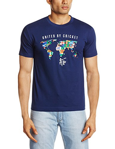 Cricket ICC CWC 2015 All Nation United By Cricket T-Shirt, Men's (Navy) (Multicolor)