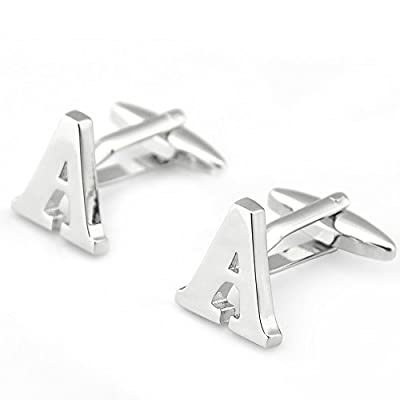 Sirius Jewelry Mens Cuff Links Initial Personalized Silver Capital Alphabet Letter Cufflinks