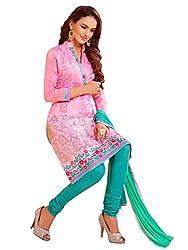 Parisha Latest Light Pink Embroidered Dress Material