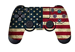 Glossy Designer Skin Sticker for Playstation 4 Remote Controller - Battle Torn Stripes