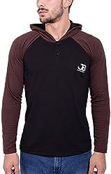 Jangoboy Men's Regular Fit Sweatshirt (F4U-48_S, Black And Brown, S)