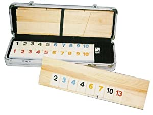 Deluxe Rummy with Wooden Racks in Aluminum Case