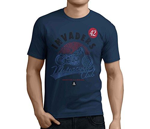 Moto T-shirt biker T Camicie Navy blue XXXL