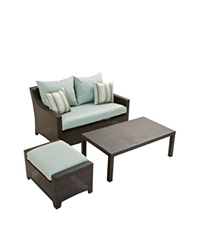 RST Brands Deco Loveseat & Ottoman With Coffee Table Set, Blue