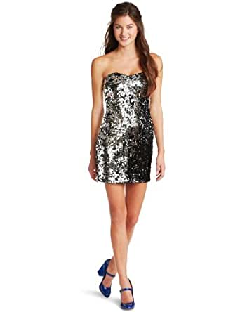 As U Wish Juniors Strapless Two Way Sequin Dress, Black, Small
