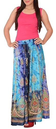 Skirts N Scarves Women'S Rayon Tie Dye Sequin Hand Beaded Painted Long Skirt Multi