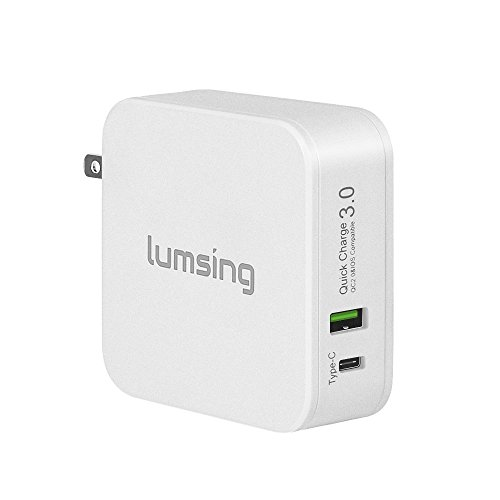 Lumsing USB 急速 充電器 48W 2ポート  Quick Charge 3.0 / 2.0 / Type-C対応  ACチャージャー 折り畳み式 プラグ搭載  各種 スマホ / タブレット / wi-fiルーター 等対応  持ち運びやすい(ホワイト)