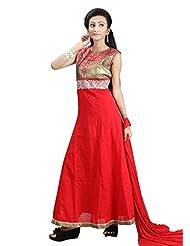Sharmili Womens Cotton Malmal Fabric Ready-To-Wear Anarkali Salwar Suit With Resham & Zari Embroidery