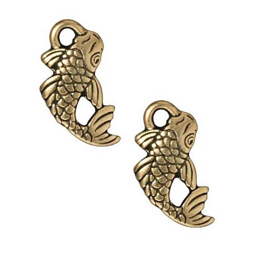 22K Gold Plated Pewter Koi Japanese Fish Charm 17mm (1)