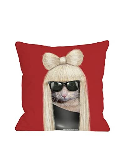 Oliver Gal Cat Pop Pillow, Red/Black