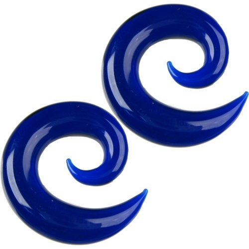 Pair of Glass Spirals: 000g Cobalt