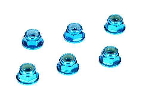 4mm Aluminum Serrated Lock Nuts, Blue (6)