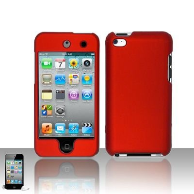 Premium Rubberized Snap-on Hard Crystal Front and Rear Case Cover for Apple iPod Touch 4G, 4th Generation, 4th Gen - red compatible with 8GB / 32GB / 64GB