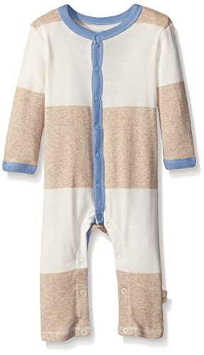 Burt's Bees Baby Baby Organic Bold Stripe Snap Front Coverall, Sand Heather, 18 Months