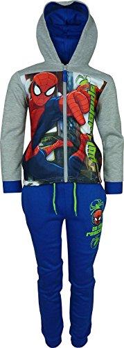 Bambini e ragazzi Marvel Spiderman Tuta da ginnastica / Jogging Set Grigio / Blu-8 Anni / 128 cm