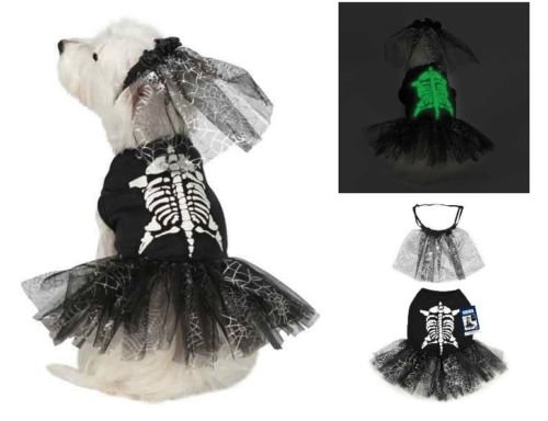 Halloween SKELETON ZOMBIE Glow Dog Pet Costume Bridezilla Dress (L (Large)) (Animal Planet Raptor Dog Costume)