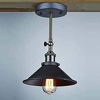 Sanyi Vintage Wall Light Fixture Industrial Edison Simplicity 1 Light Wall Mount Light Aged Steel Finished Wall Sconces