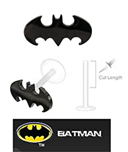 Batman Bat man Black Bat Official Licensed DC Comics Flex Flexible Bioplastic Labret Monroe lip tragus piercing bar Ring 14g