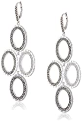"Judith Jack ""Silver Halo"" Sterling Silver and Marcasite Hammered Drama Drop Earrings"