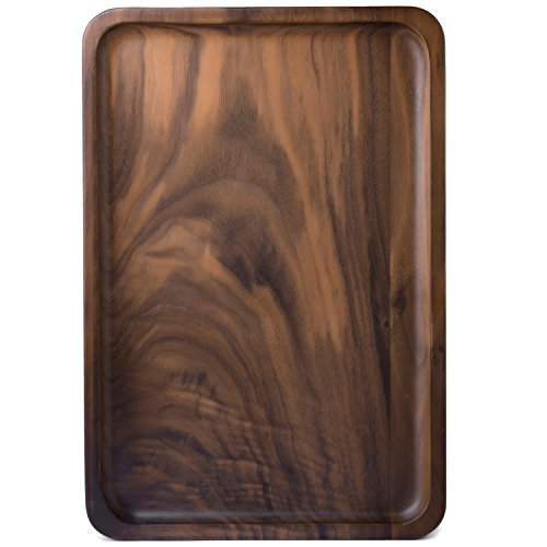 Bamber Wood Serving Trays, Wooden Decorative Trays, Serving Platters for Tea Coffee Wine, Premium Quality, Eco-friendly, Rectangular - Black Walnut (Medium Size)