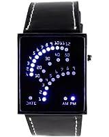 Yesurprise Montre carré à LED Secteur Bleu Noir Bracelet en cuir