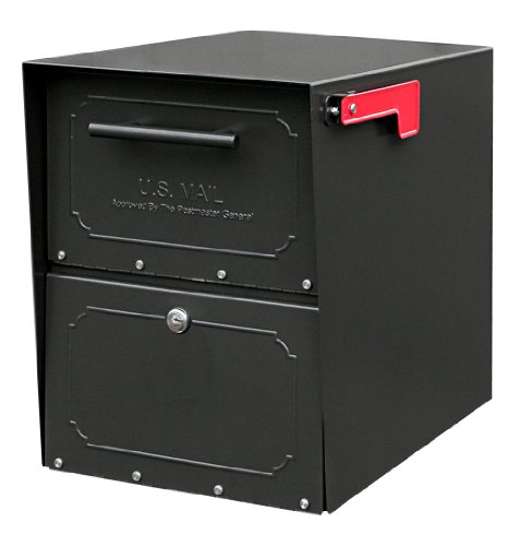 Architectural Mailboxes 6200B-10 Oasis Jr. Locking Post Mount Mailbox, Black