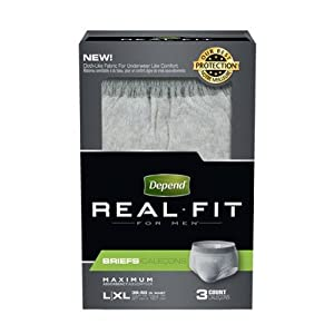 Depend Real Fit for Men Briefs, Large/XL, Case/9 (3/3s)