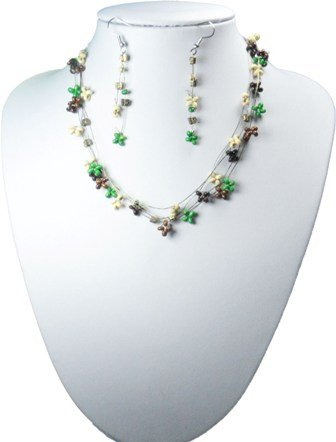 Green Bead Three Row Necklace and Drop Earrings Set - Design 2