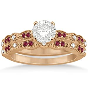 Petite Pave-Set Marquise and Dot Ruby and Diamond Accented Bridal Set in 18k Rose Gold 0.41ct