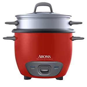 Aroma 6-Cup Rice Cooker and Food Steamer, Red